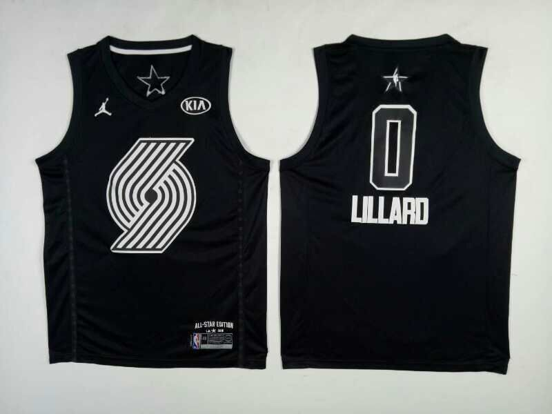 Blazers 0 Damian Lillard Black 2018 All-Star Game Jordan Brand Authentic Jersey