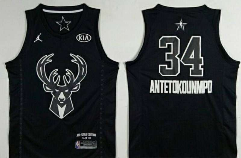 Bucks 34 Giannis Antetokounmpo Black 2018 All-Star Game Jordan Brand Authentic Jersey