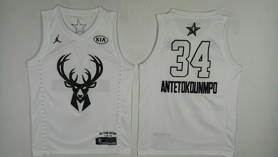 Bucks 34 Giannis Antetokounmpo White 2018 All-Star Game Jordan Brand Authentic Jersey
