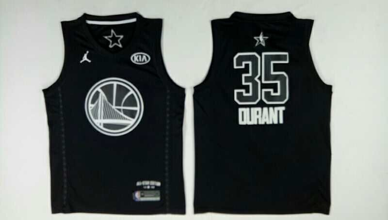 Warriors 35 Kevin Durant Black 2018 All-Star Game Jordan Brand Authentic Jersey