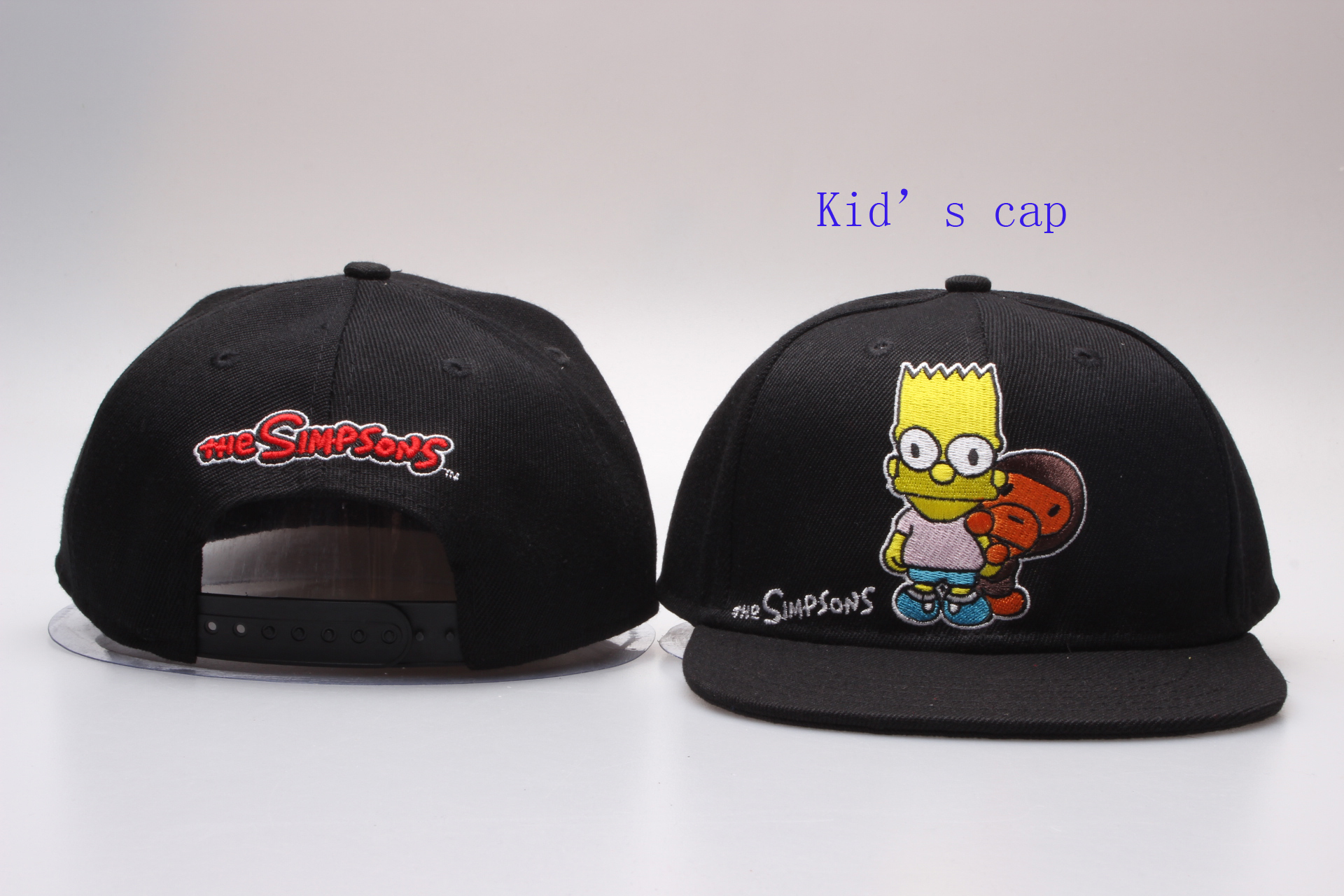 The Simpsons Logo Black Kid's Snapback Adjustable Hat YP