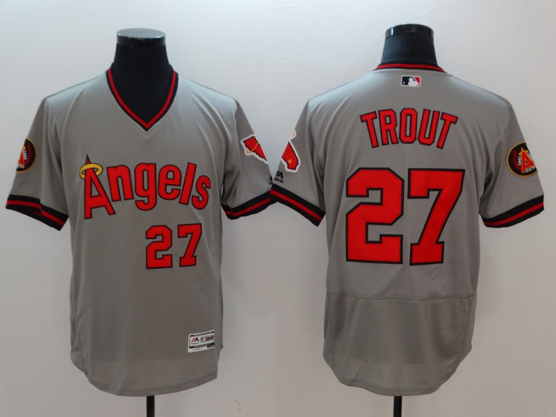 Angels 27 Mike Trout Gray 1977 Turn Back The Clock Flexbase Jersey