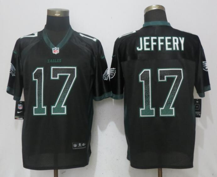 Nike Eagles 17 Alshon Jeffery Black Drift Fashion Elite Jersey