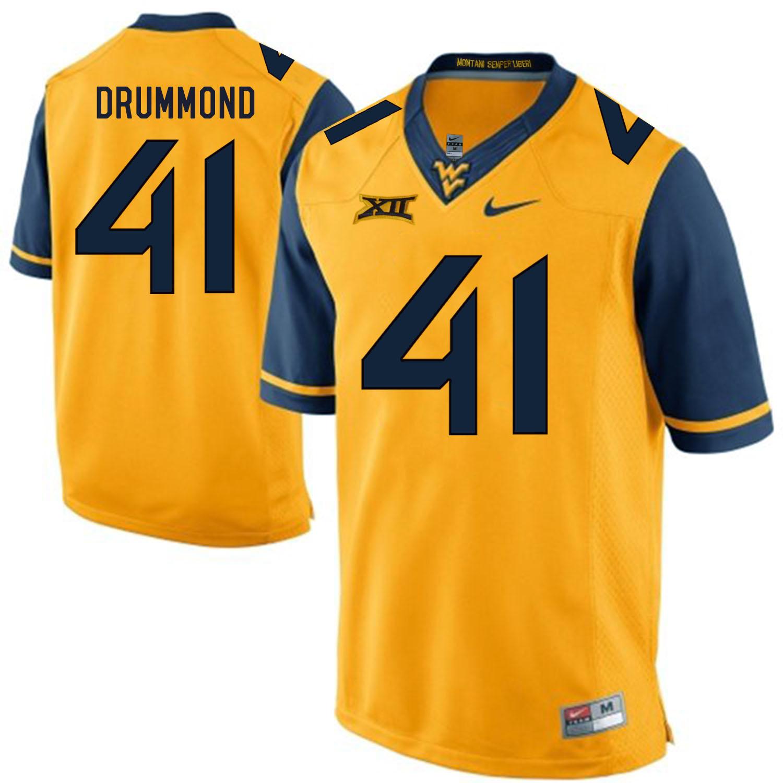 West Virginia Mountaineers 41 Elijah Drummond Gold College Football Jersey