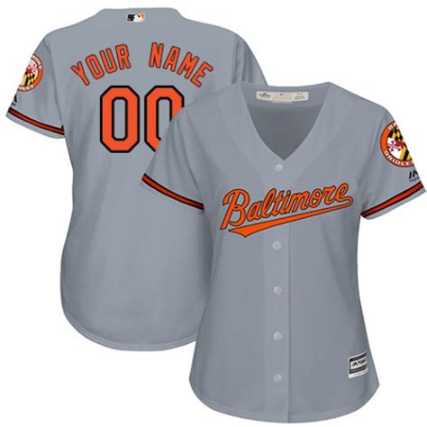 Orioles Gray Customized Women New Cool Base Jersey