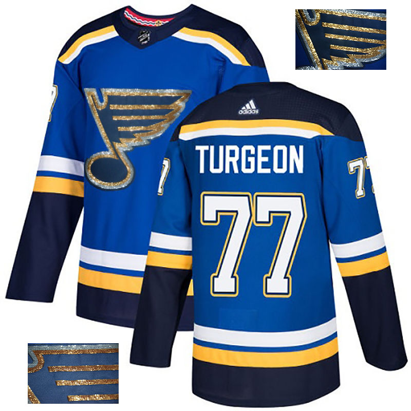 Blues 77 Pierre Turgeon Blue Glittery Edition Adidas Jersey
