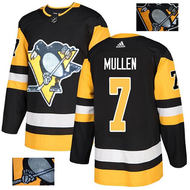 Penguins 7 Joe Mullen Black Glittery Edition Adidas Jersey