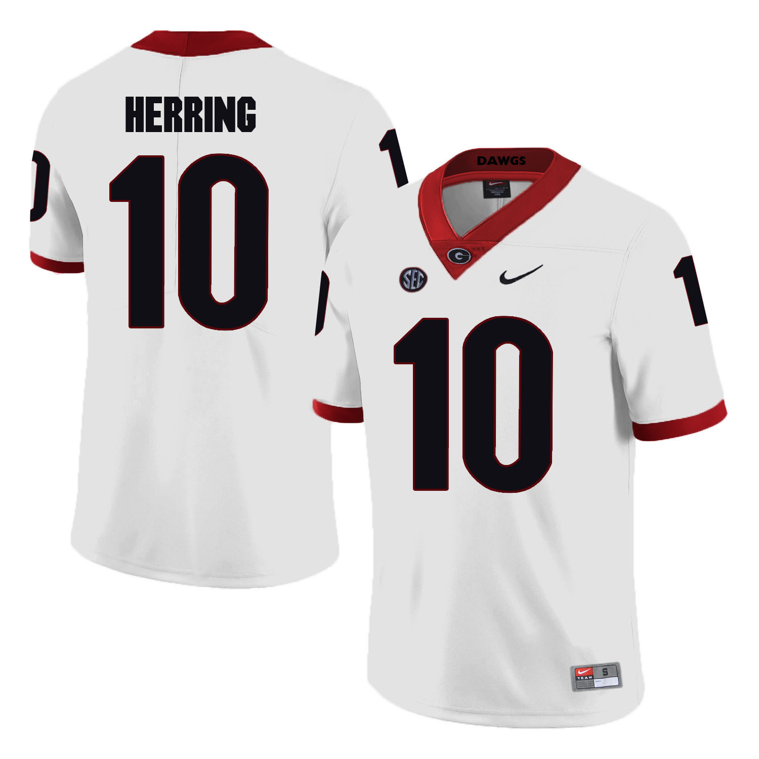 Georgia Bulldogs 10 Malik Herring White College Football Jersey