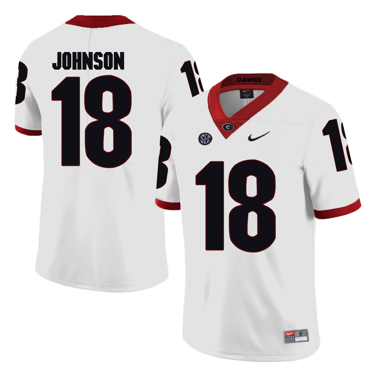 Georgia Bulldogs 18 Netori Johnson White College Football Jersey