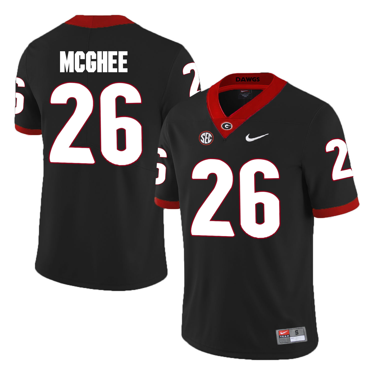 Georgia Bulldogs 26 Tyrique McGhee Black College Football Jersey