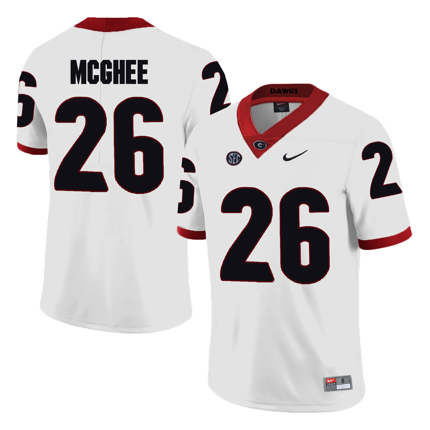 Georgia Bulldogs 26 Tyrique McGhee White College Football Jersey