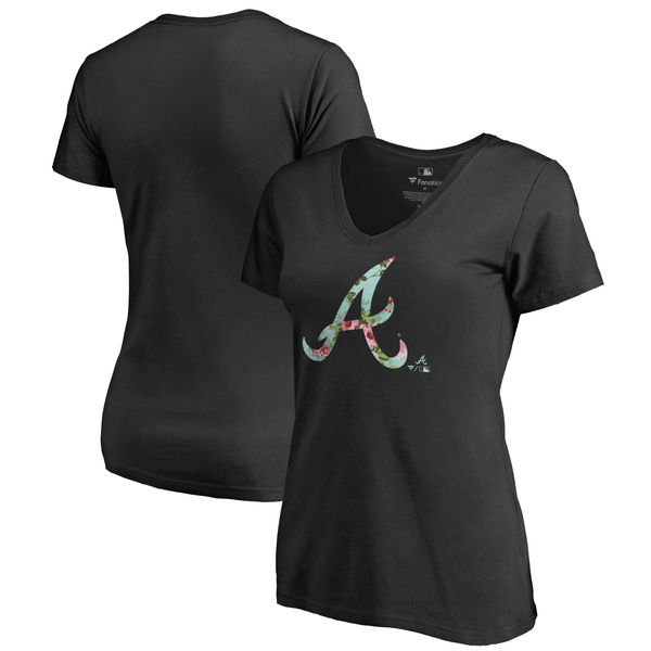 Atlanta Braves Fanatics Branded Women's Lovely Plus Size V Neck T-Shirt Black