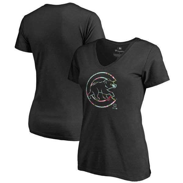 Chicago Cubs Fanatics Branded Women's Lovely Plus Size V Neck T-Shirt Black