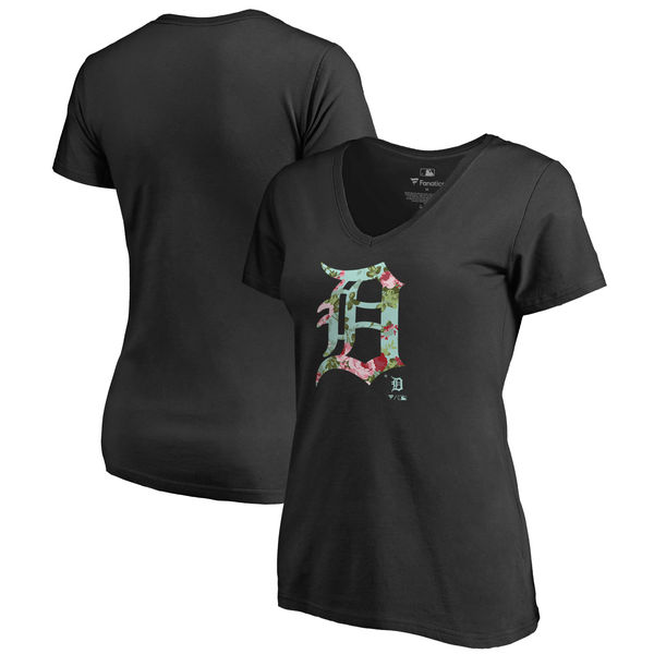 Detroit Tigers Fanatics Branded Women's Lovely V Neck T-Shirt Black