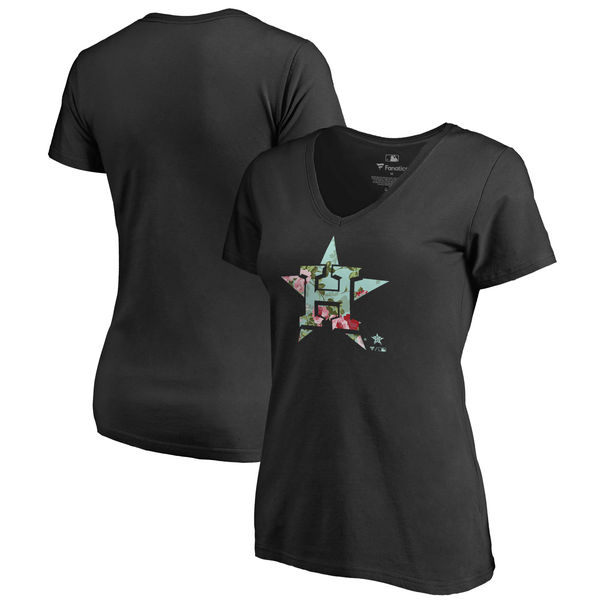 Houston Astros Fanatics Branded Women's Lovely V Neck T-Shirt Black