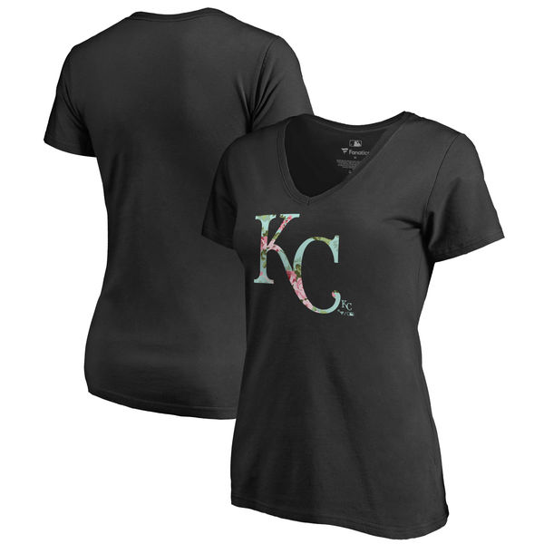 Kansas City Royals Fanatics Branded Women's Lovely V Neck T-Shirt Black