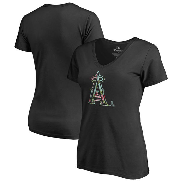Los Angeles Angels Fanatics Branded Women's Lovely V Neck T-Shirt Black