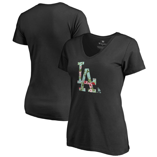 Los Angeles Dodgers Fanatics Branded Women's Lovely V Neck T-Shirt Black