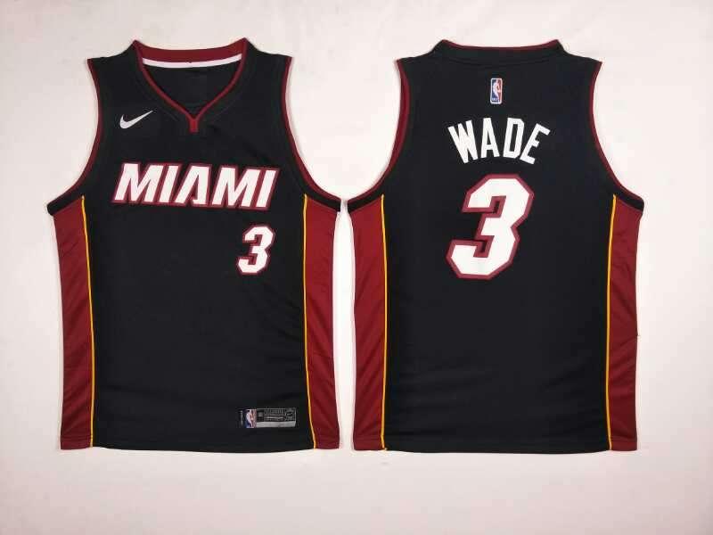 Heat 3 Dwyane Wade Black Nike Swingman Jersey
