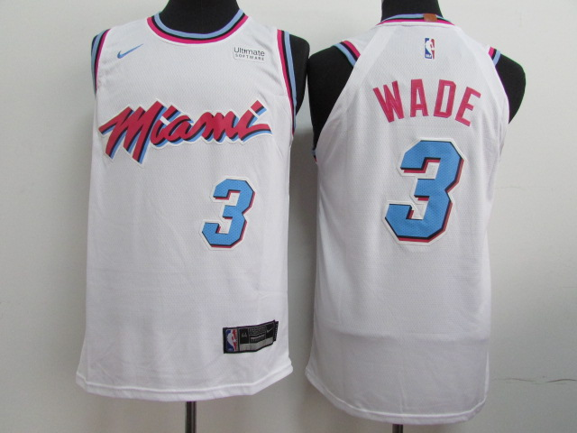 Heat 3 Dwyane Wade White City Edition Nike Authentic Jersey