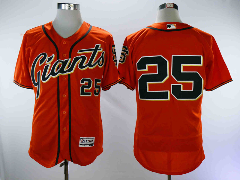 Giants 25 Barry Bonds Orange Flexbase Jersey