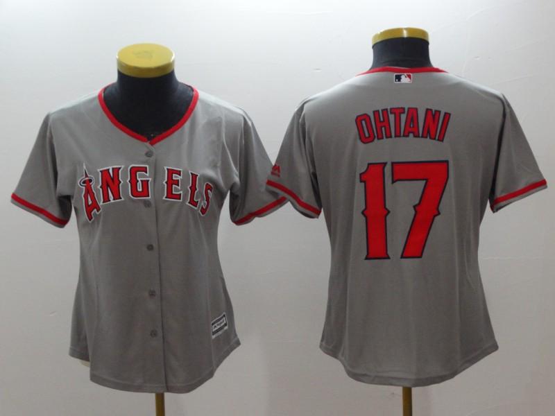Angels 17 Shohei Ohtani Gray Women Cool Base Jersey
