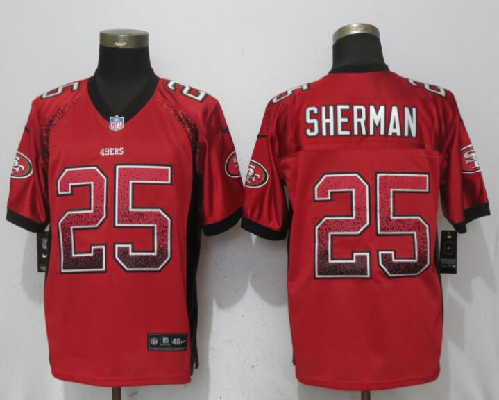 Nike 49ers 25 Richard Sherman Red Drift Fashion Elite Jersey