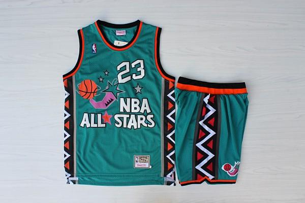 Bulls 23 Michael Jordan Teal 1996 All-Star Jersey(With Shorts)