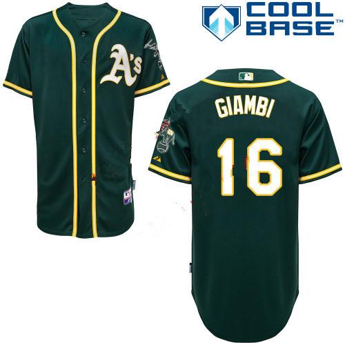 Athletics 16 Jason Giambi Green Cool Base Jerseys