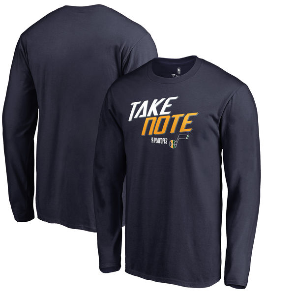 Utah Jazz Fanatics Branded 2018 NBA Playoffs Slogan Long Sleeve T-Shirt Navy
