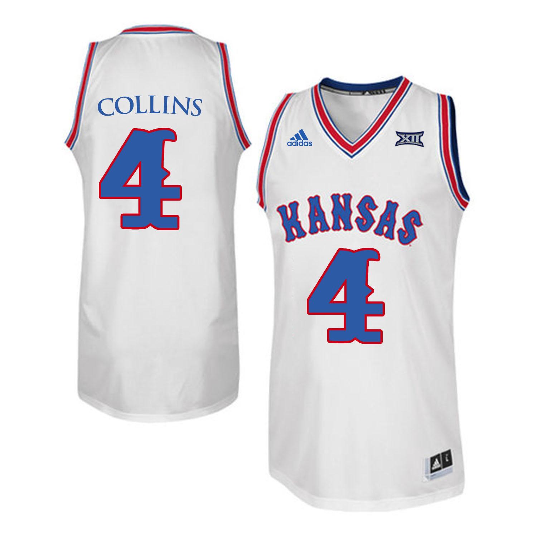 Kansas Jayhawks 4 Sherron Collins White Throwback College Basketball Jersey