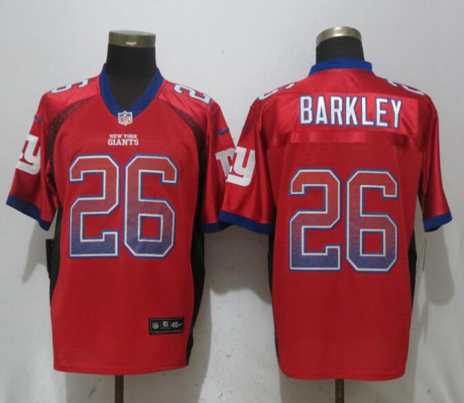 Nike Giants 26 Saquon Barkley Red Drift Fashion Elite Jersey