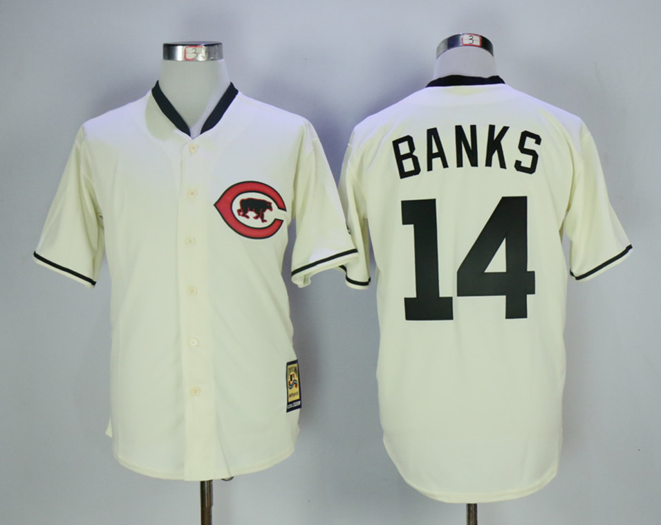 Cubs 14 Ernie Banks Cream Throwback Jersey