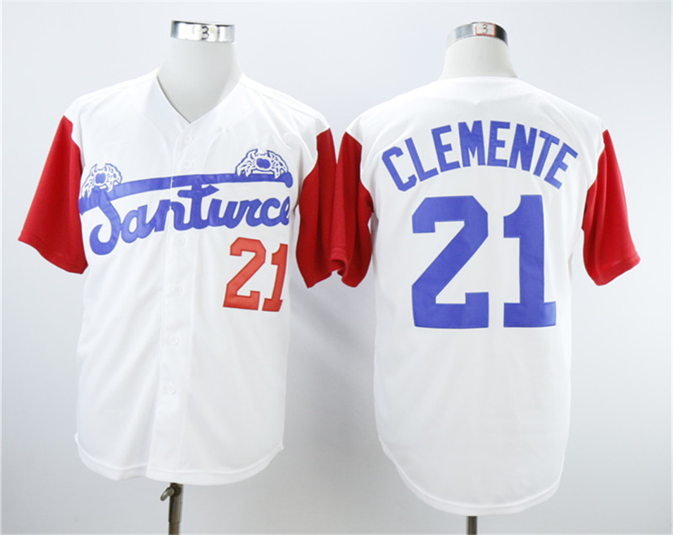 Puerto Rico Cangrejeros de Santurce 21 Roberto Clemente White Baseball Jersey