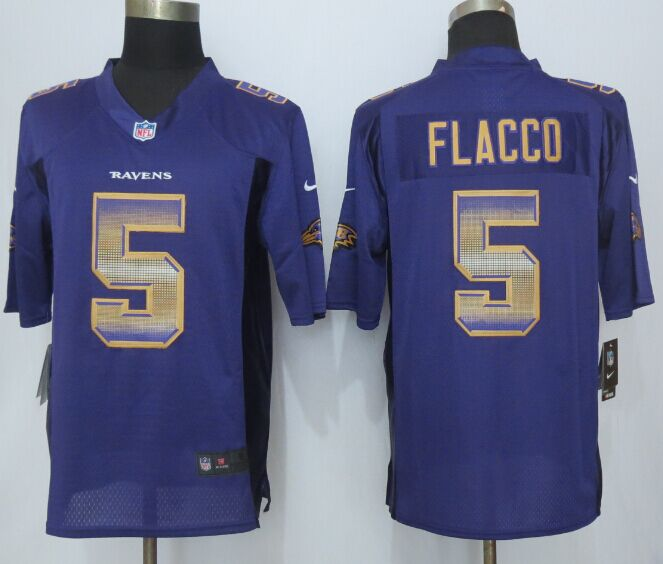 Nike Ravens 5 Joe Flacco Purple Pro Line Fashion Strobe Jersey