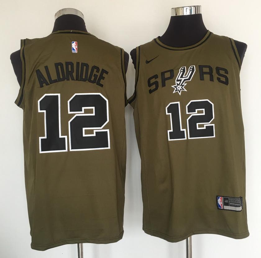 Spurs 12 LaMarcus Aldridge Olive Nike Swingman Jersey
