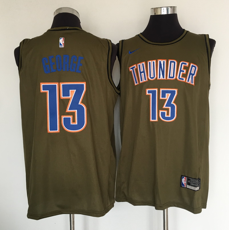 Thunder 13 Paul George Olive Nike Swingman Jersey