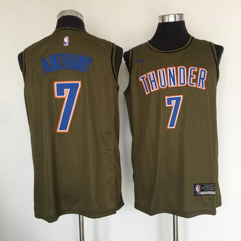 Thunder 7 Carmelo Anthony Olive Nike Swingman Jersey
