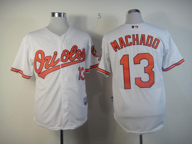 Orioles 13 Manny Machado White Cool Base Jersey