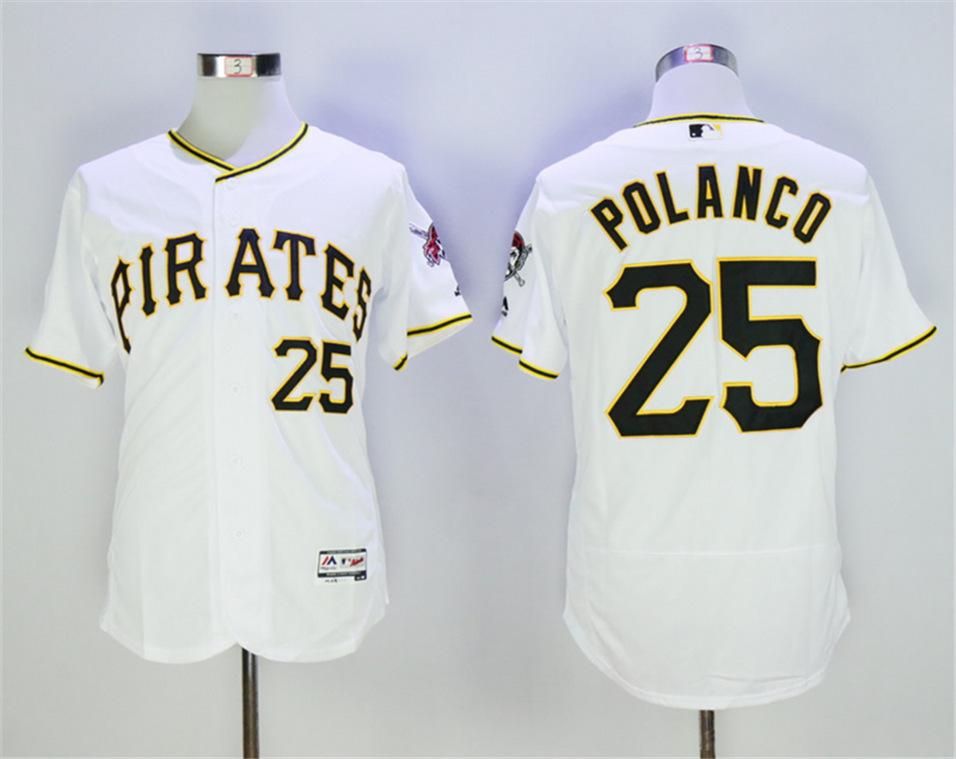 Pirates 25 Gregory Polanco White Flexbase Jersey