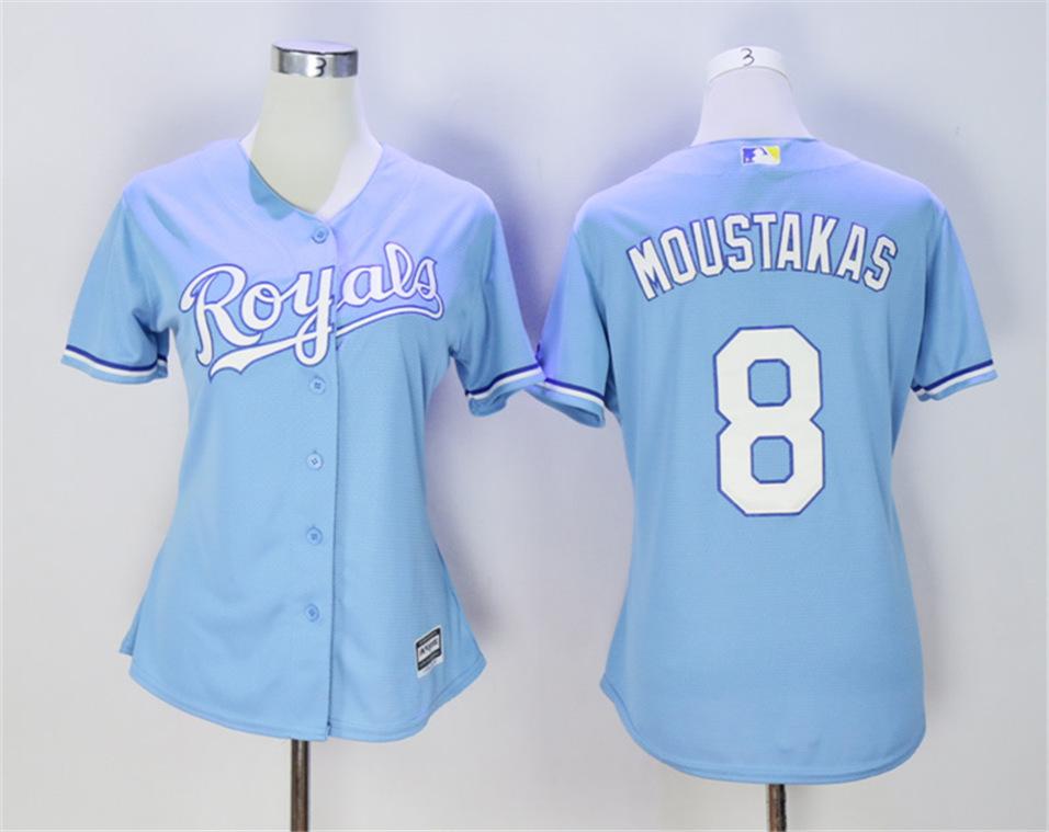 Royals 8 Mike Moustakas Light Blue Women Cool Base Jersey