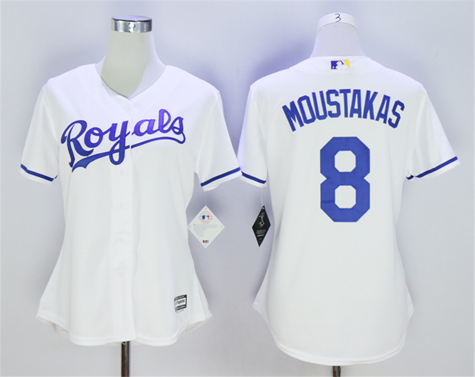 Royals 8 Mike Moustakas White Women Cool Base Jersey