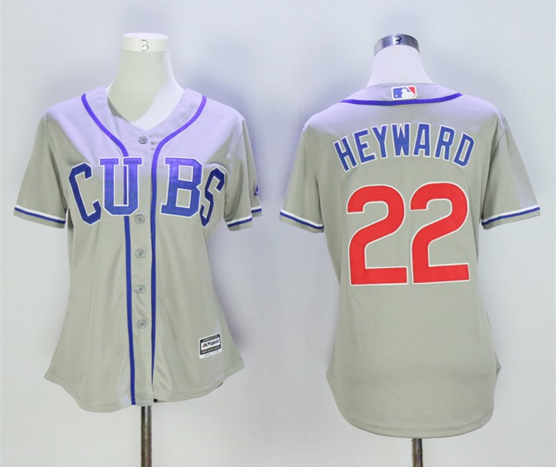 Cubs 22 Jason Heyward Gray Women Cool Base Jersey