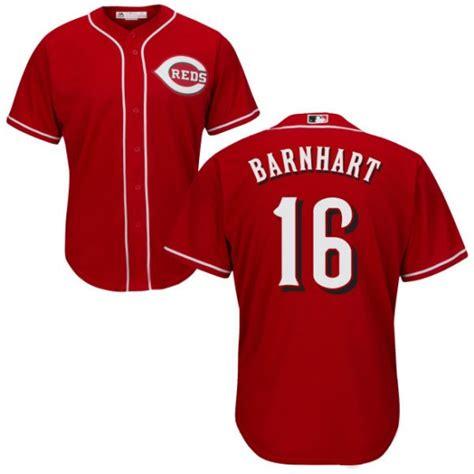 Reds 16 Tucker Barnhart Red Cool Base Jersey
