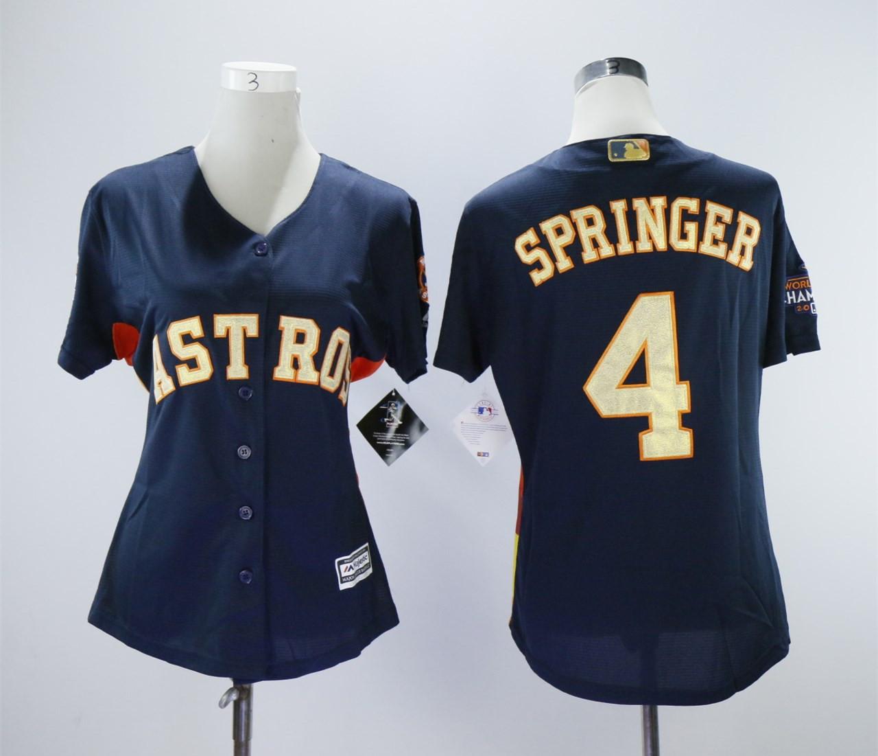 Astros 4 George Springer Navy Women 2018 Gold Program Cool Base Jersey