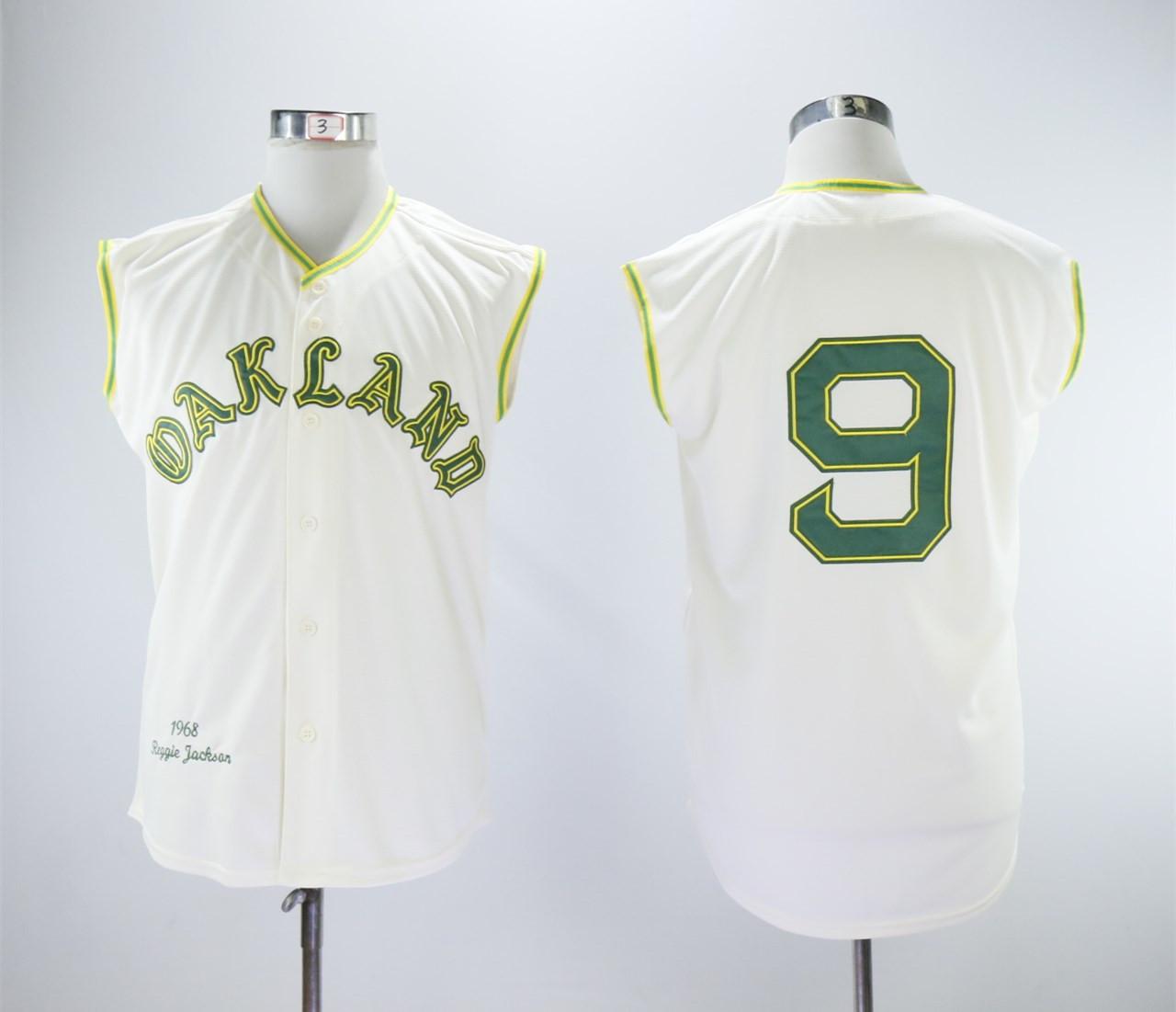 Athletics 9 Reggie Jackson Cream 1968 Throwback sleeveless Jersey