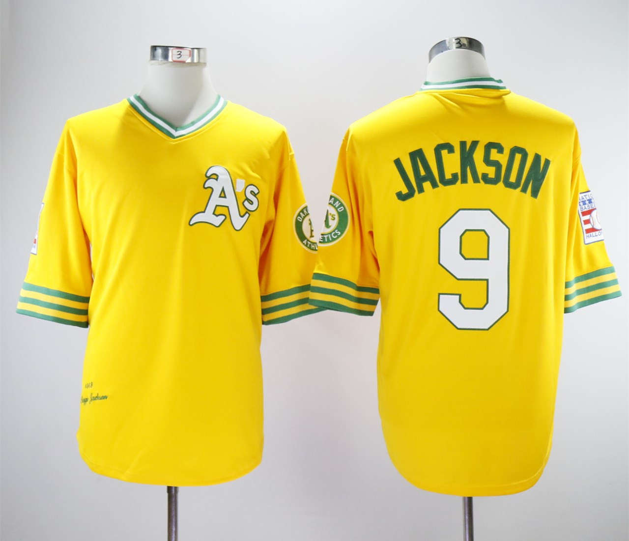 Athletics 9 Reggie Jackson Yellow Turn Back The Clock Copperstown Collection Jersey