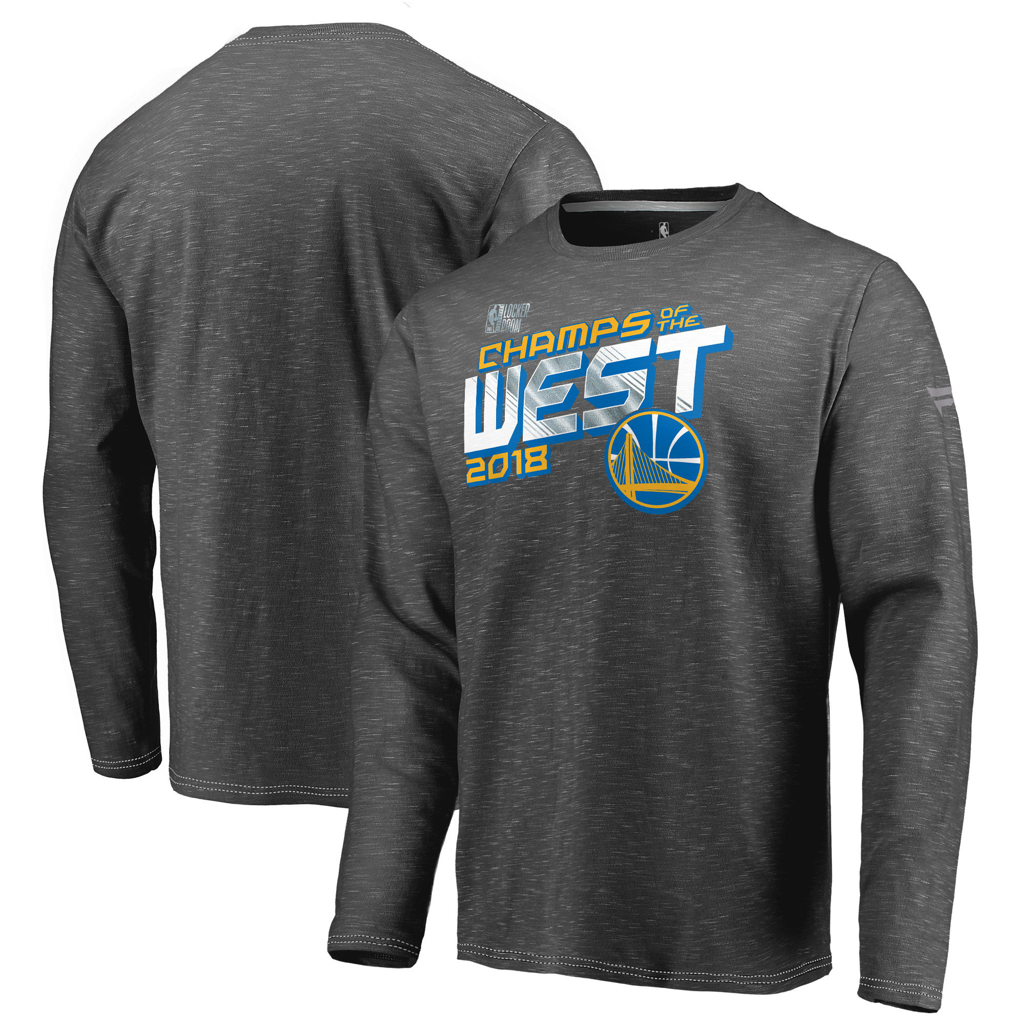 Golden State Warriors Fanatics Branded 2018 Western Conference Champions Locker Room Long Sleeve T-Shirt Heather Charcoal