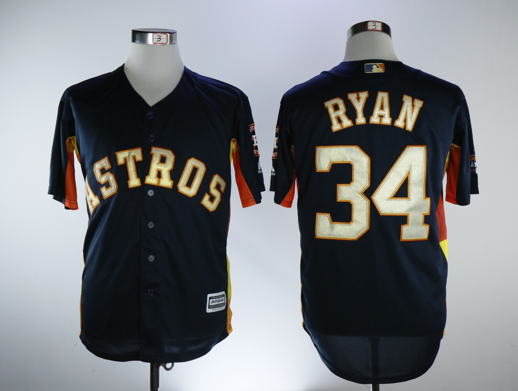Astros 34 Nolan Ryan Navy 2018 Gold Program Cool Base Jersey