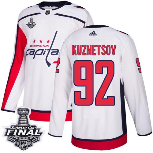 Capitals 92 Evgeny Kuznetsov White 2018 Stanley Cup Final Bound Adidas Jersey